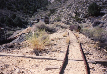 see the ore carts on the right side of the tracks?